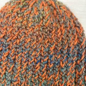 MonkeyStuff Jewelry Accessories - Handmade Orange and multi colored slouchy knit hat
